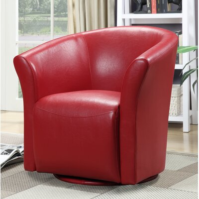 Elisha Swivel Barrel Chair Upholstery: Red