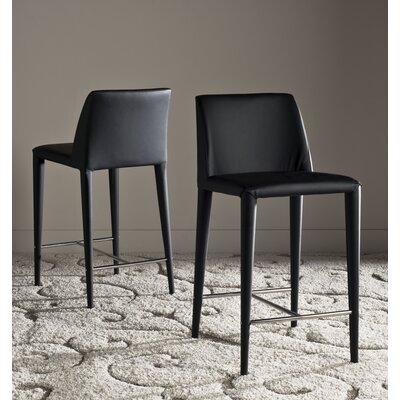 Zackary 26 Bar Stool Upholstery: Black