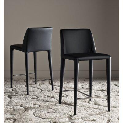 Zackary 26 Bar Stool Upholstery: Black