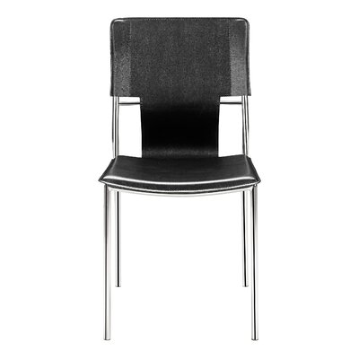 Landin Side Chair with Leatherette Seat and Back Upholstery: Black