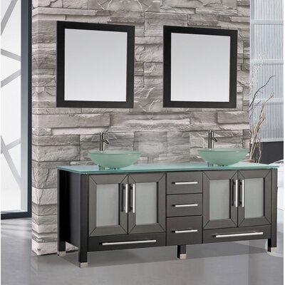 Prado 61 Double Bathroom Vanity Set with Mirrors Base Finish: Espresso