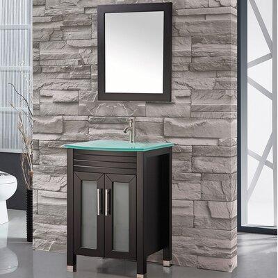 Prall 24 Single Sink Bathroom Vanity Set with Mirror Base Finish: Espresso