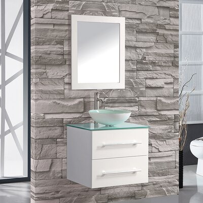 Prado Modern 36 Single Sink Bathroom Vanity Set with Mirror Base Finish: White