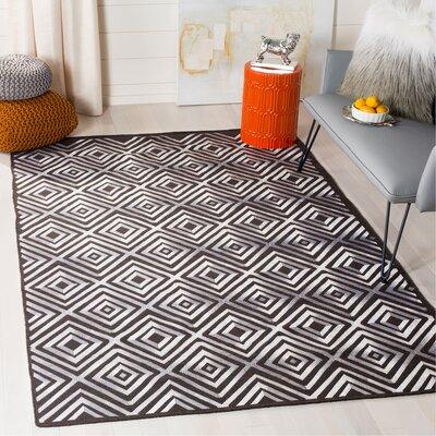 Mata Kilim Hand-Woven Charcoal Area Rug Rug Size: Rectangle 5 x 8