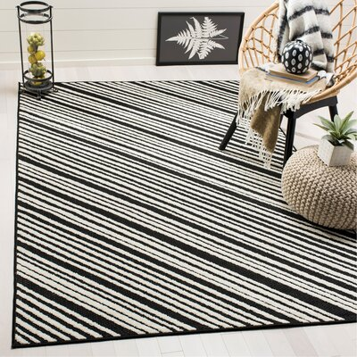 Shaun Black Indoor/Outdoor Area Rug Rug Size: Rectangle 53 x 77
