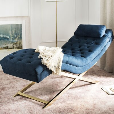 Mulder Chaise Lounge Upholstery: Navy / Gold