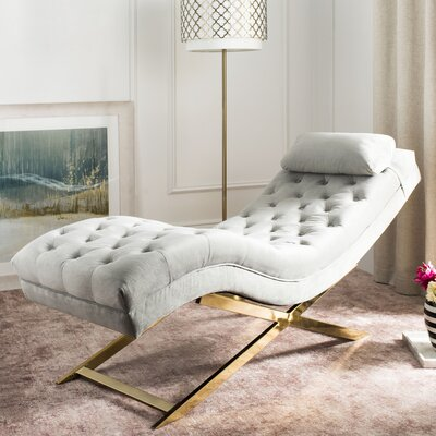 Mulder Chaise Lounge Upholstery: Grey / Gold