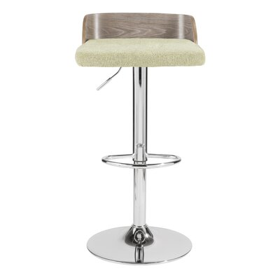 Rockaway Adjustable Height Swivel Bar Stool Upholstery: Green, Frame Color: Light Grey