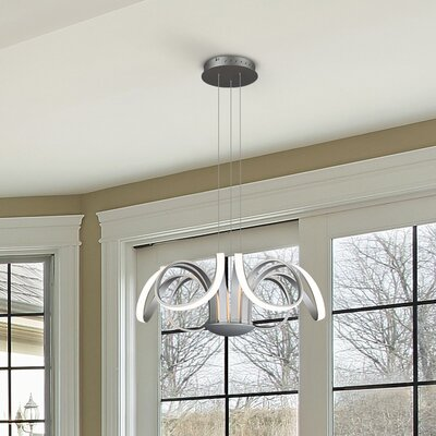 Doveton 6-Light Geometric Pendant Finish: Aluminium