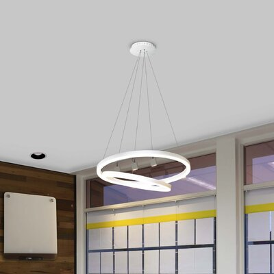 Marcelo Duo LED Geometric Pendant Shade Color: White