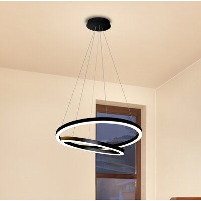 Marcelo Duo LED Geometric Pendant Shade Color: Black