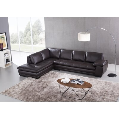 Stockbridge Leather Sectional Upholstery: Brown, Orientation: Left Hand Facing