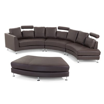 Roberson Leather 4 Piece Living Room Set Upholstery: Brown
