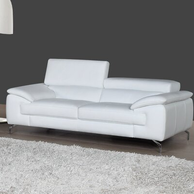 Gideon Italian Leather Sofa Upholstery: White