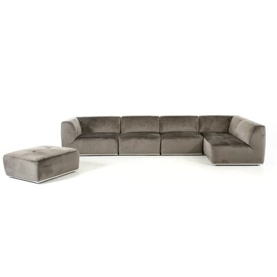 Alsatia Modular Sectional Upholstery: Gray, Orientation: Right Hand Facing