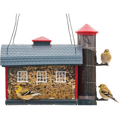 Red Barn Decorative Hopper Bird Feeder