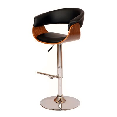 March Adjustable Height Swivel Bar Stool Upholstery: Black