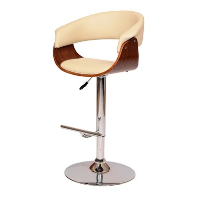 March Adjustable Height Swivel Bar Stool Upholstery: Cream