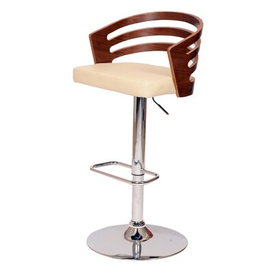 Hancock Adjustable Height Swivel Bar Stool Upholstery: Cream