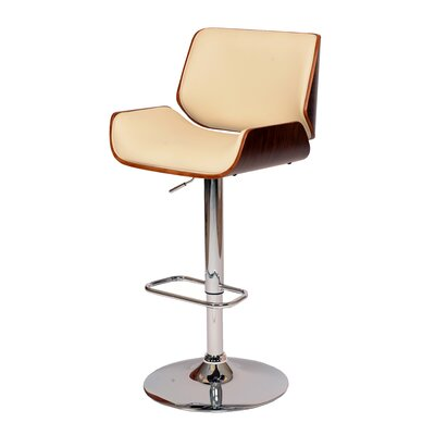 Savannah Adjustable Height Swivel Bar Stool Upholstery: Cream