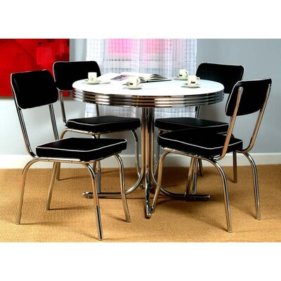 Jillian 5 Piece Dining Set Upholstery: Black