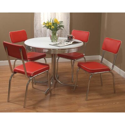 Jillian 5 Piece Dining Set Upholstery: Red