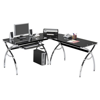 Oakton L Shaped Glass Computer Desk Product Photo 4