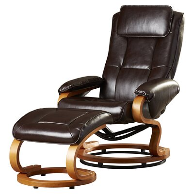 Medford Manual Swivel Recliner with Ottoman Upholstery: Brown