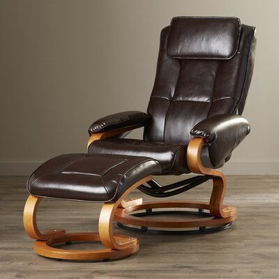 Medford Recliner with Ottoman Set Upholstery: Brown