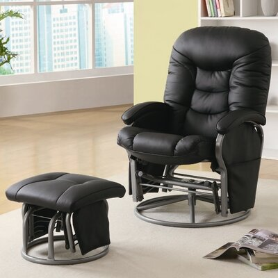 Quarles Manual Glider Recliner with Ottoman Color: Black