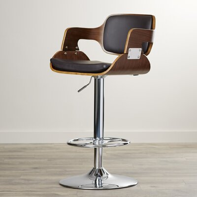Adjustable Height Swivel Bar Stool Upholstery: Walnut/Brown