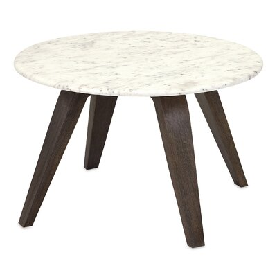 Febe Short Marble and Wood End Table