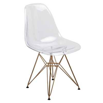 Junia Side Chair (Set of 2) Finish: Clear/Gold