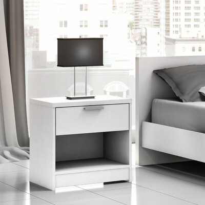 Miami 1 Drawer Nightstand Color: Off White