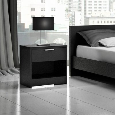Miami 1 Drawer Nightstand Color: Black