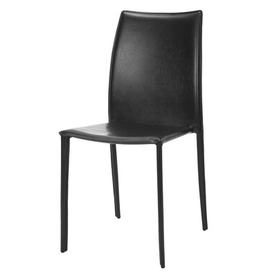 Brett Leather Side Chair Set Of: 2, Color: Black