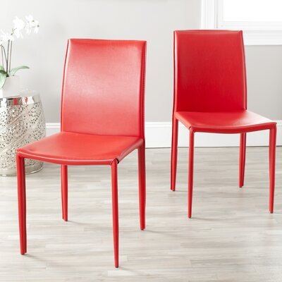 Coralie Side Chair Upholstery: Red