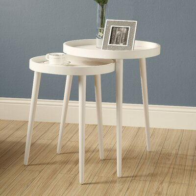 Roberta 2 Piece Nesting Table Set Color: White