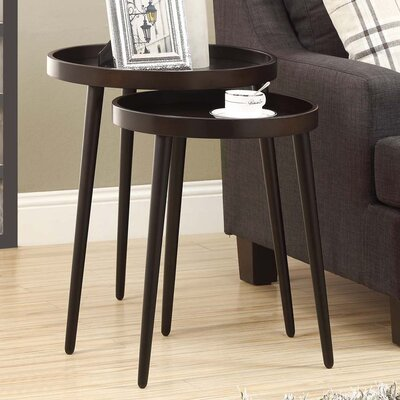Roberta 2 Piece Nesting Table Set Color: Cappuccino