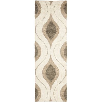 Fulton Cream/Smoke Gray Shag Area Rug Rug Size: Runner 23 x 9