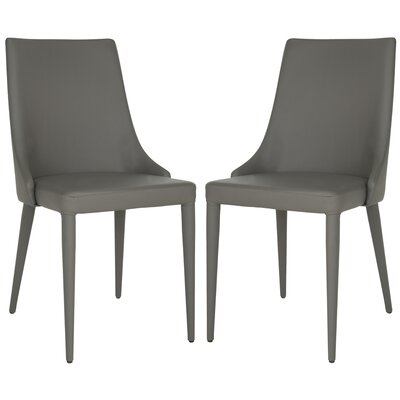 Sherwood Genuine Leather Upholstered Dining Chair Color: Gray
