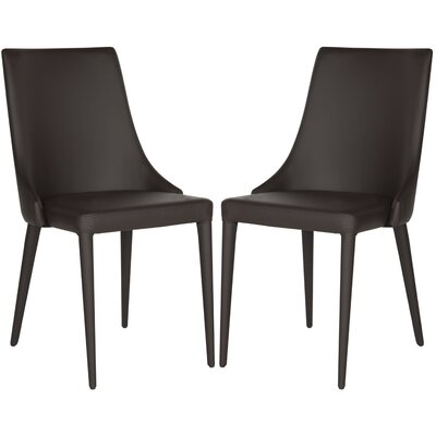 Sherwood Leather Upholstered Dining Chair Color: Brown