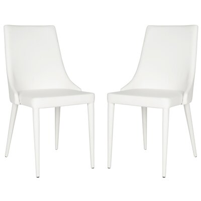 Sherwood Genuine Leather Upholstered Dining Chair Color: White