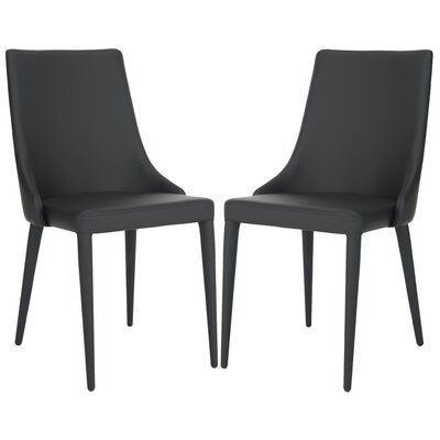 Sherwood Genuine Leather Upholstered Dining Chair Color: Black