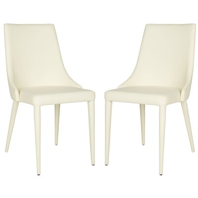 Sherwood Genuine Leather Upholstered Dining Chair Color: Buttercream