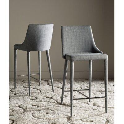 Sherwood 26 Iron Bar Stool Upholstery: Linen Gray