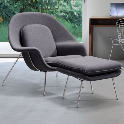 Borrero Lounge Chair and Ottoman Upholstery: Light Gray