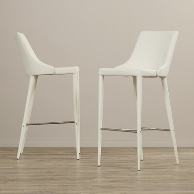 Lebron 29.9 Bar Stool with Cushion Upholstery: White