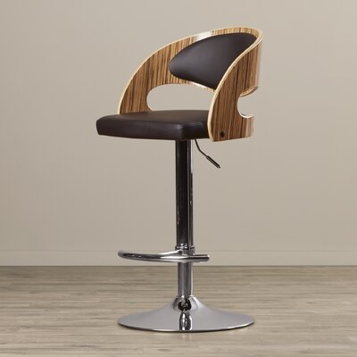 Lanesboro Adjustable Height Swivel Bar Stool Upholstery: Zebra / Brown
