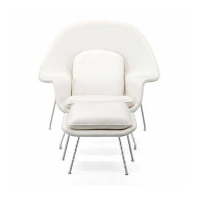 Maxime Lounge Chair and Ottoman Upholstery: White